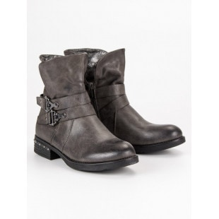 FOREVER FOLIE GREY ANKLE BOOTS WORKERY