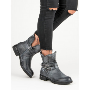 FOREVER FOLIE BLUE ANKLE BOOTS WORKERY