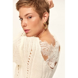 Trendyol Ecru Lace Detailed Sweater Sweaters