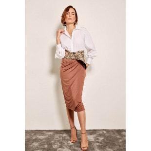 Trendyol Brown With Red Pinstripes Skirt