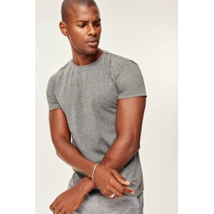 Trendyol Anthracite Basic Men's T-shirt-Cotton Short Sleeve Cycling Collar