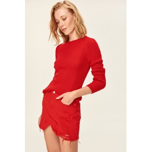 Trendyol Red Basic Knitted Sweater