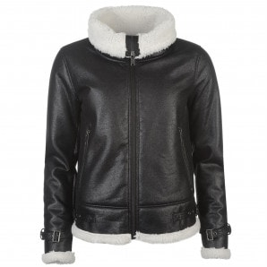 Firetrap Shearling Bomber Jacket Ladies