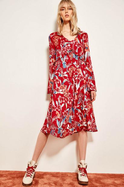 6bec2e12b30e Trendyol Red Textured Frilled Dress