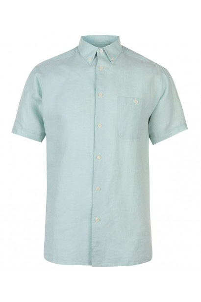 Pierre Cardin Linen Short Sleeve Shirt Mens