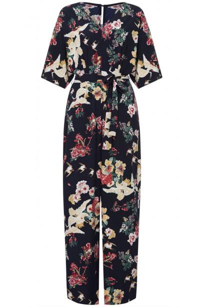 Yumi Curves Floral Print Wide Leg Jumpsuit
