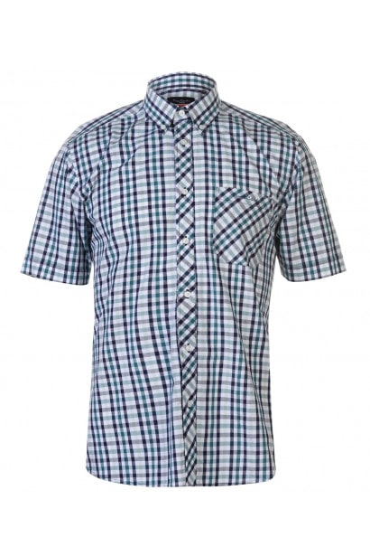 Pierre Cardin Coloured Gingham Short Sleeve Shirt Mens