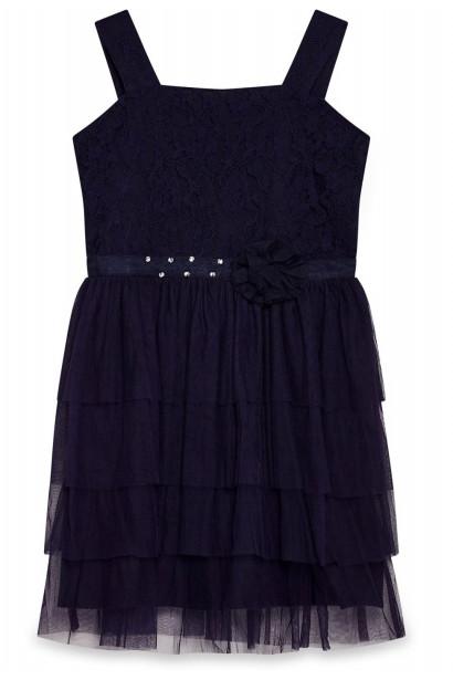 Yumi Girls Ballerina Embellished Waist Party Dress