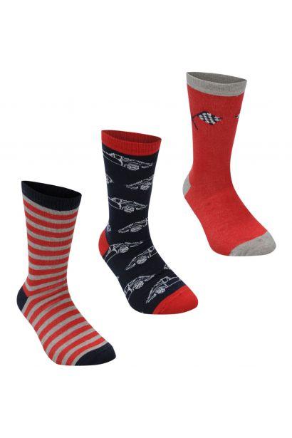 Crafted Essentials 3 Pack Car Socks Child Boys
