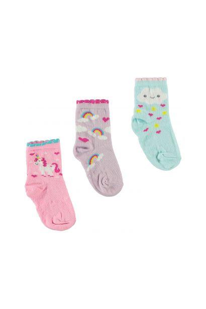 Crafted Essentials 3 Pack Unicorn Socks Baby Girls
