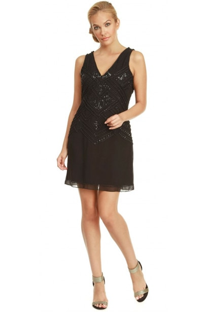 Dex Clothing V Neck Sleeveless Beaded Dress