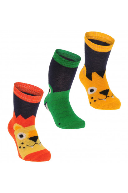 Crafted Essentials 3 Pack Animal Socks Baby Boys