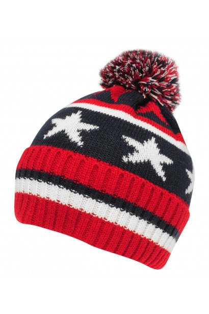 Crafted Essentials Stars and Stripes Bobble Hat Child Boys