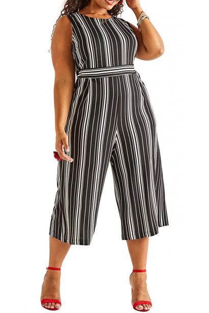 Yumi Curves Stripe Plius Size Stretch Jumpsuit