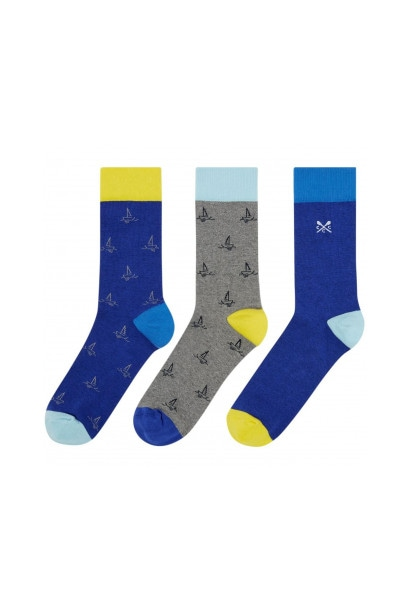 Crew Clothing Company 3 Pack Socks Mixed