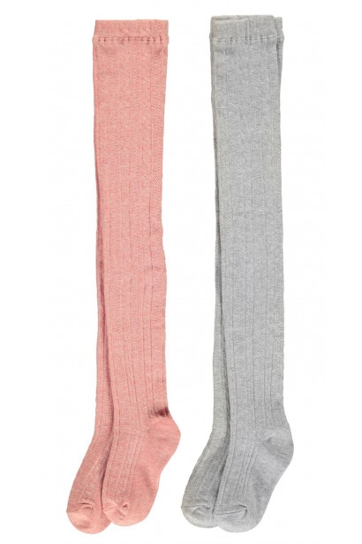 Crafted Essentials 2 Pack Cable Tights Child Girls