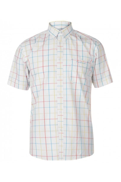 Pierre Cardin Window Check Short Sleeve Shirt Mens