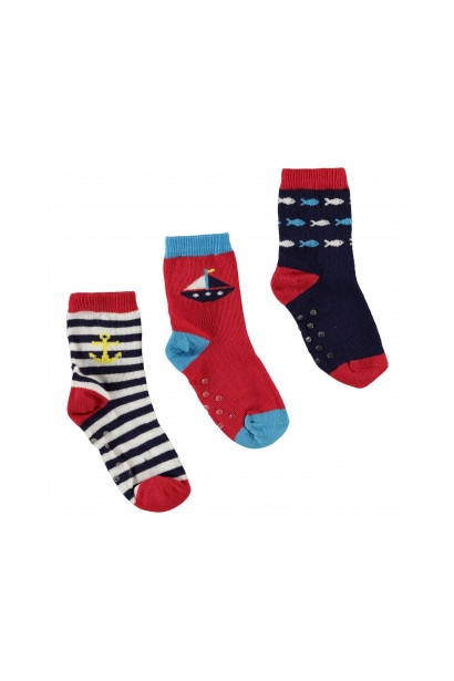 Crafted Essentials 3 Pack Anchor Socks Baby Boys