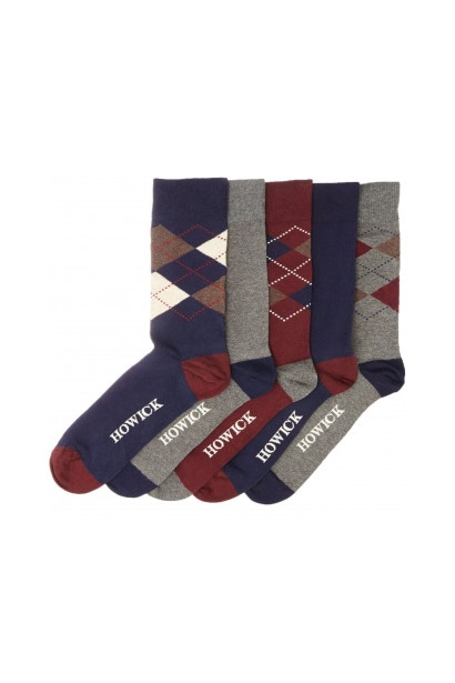 Howick 5 Pack Argyle Sock