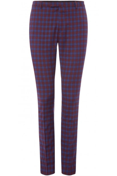 Label Lab Adams Skinny Fit Tartan Check Suit Trousers