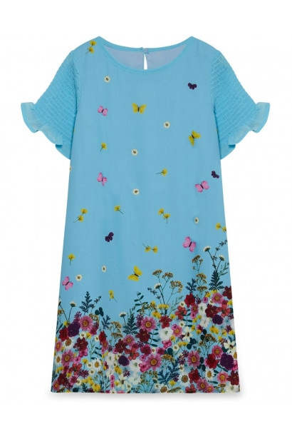 Yumi Girls Floral Print Frill Sleeves Party Dress