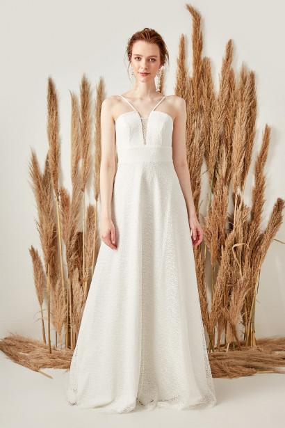 f6407b9f4c8a Trendyol Ecru Binding Detailed Lace Dress