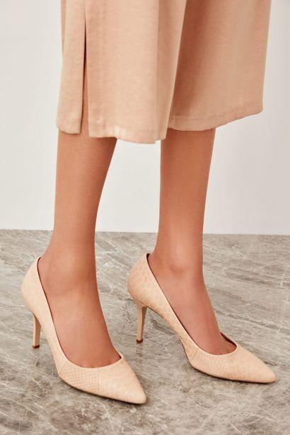 a47487e9fb Trendyol Genuine Leather Beige Croco Handbag Women's Wedge-Heeled Shoes