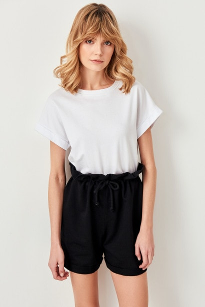 Trendyol Black Knit Shorts Paperbag