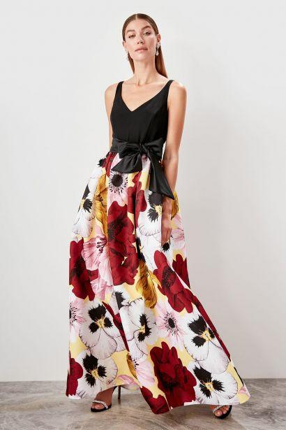 b4bda6caaea Trendyol Black Patterned evening Dress