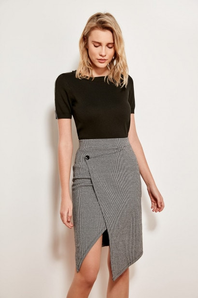 Trendyol Black Checkered Cross Detailed Knitting Skirt