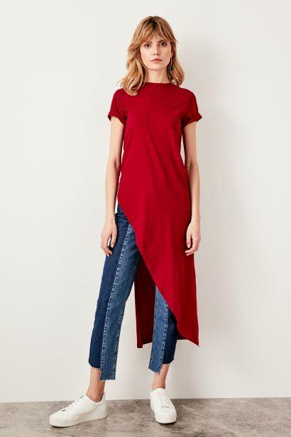 Trendyol Burgundy Asymmetrical Knitted Blouse