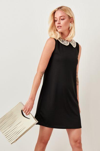 8d333a3cd386 Trendyol Black Lace Collar Knit Dress