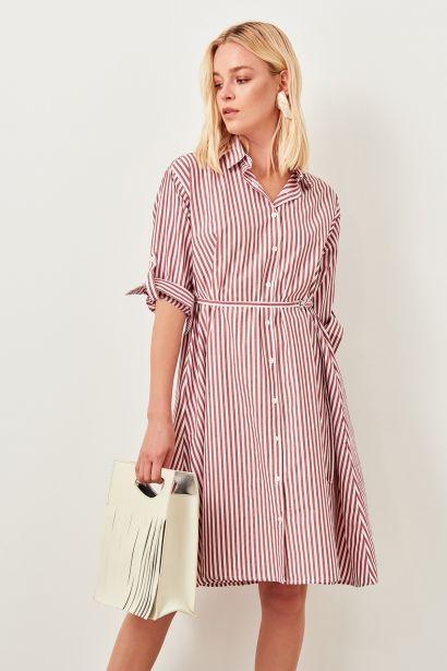 5c37c881d202 Trendyol Burgundy Striped Dress