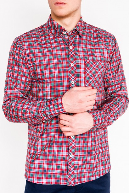 332100d6cc Ombre Clothing Men's check shirt with long sleeves K421