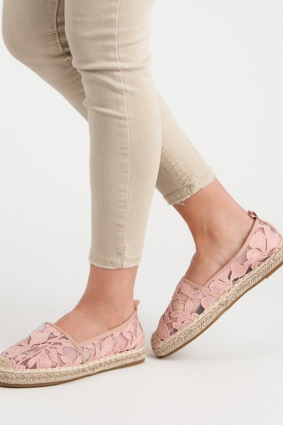 LUCKY SHOES PINK LACE ESPADRILLES