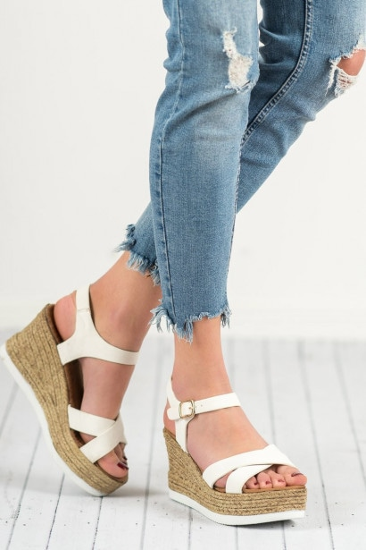 JESSY ROSS WHITE SUEDE SANDALS