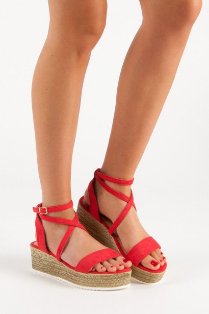 CH. CREATION RED WEDGE-HEEL SANDALS