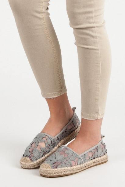 LUCKY SHOES GREY LACE ESPADRILLES