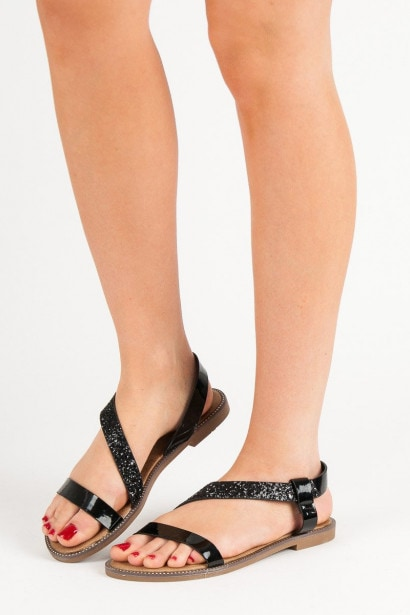 SWEET SHOES SLIP-ON PATENT SANDALS