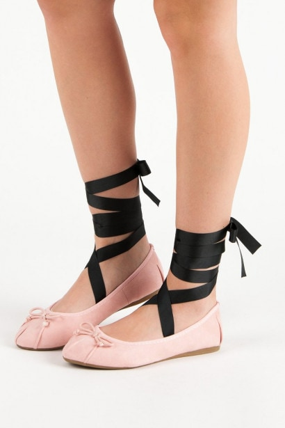 LUCKY SHOES PINK LACE-UP BALLET PUMPS