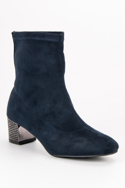 ACLYS SLIP-ON NAVY BLUE ANKLE BOOTS