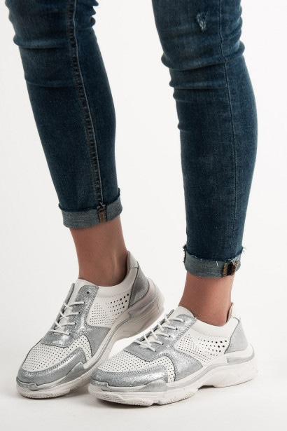 GOODIN GLITTERY LEATHER SNEAKERS