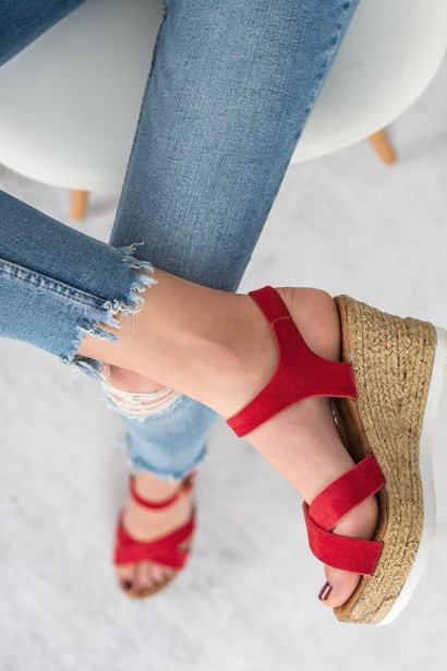 JESSY ROSS RED SUEDE SANDALS