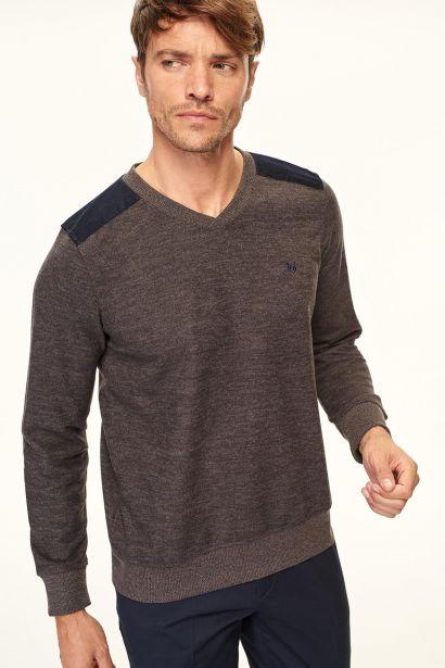 f5b3a606cea1 Trendyol Anthracite Men Sweater-Thessaloniki V-neck Shoulders Detailed