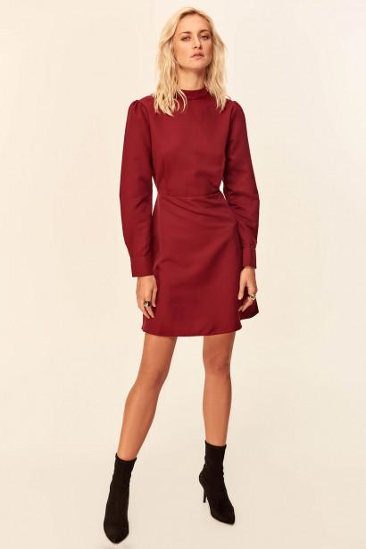 62440ca7a5ff Trendyol Burgundy Waist Detailed Dress