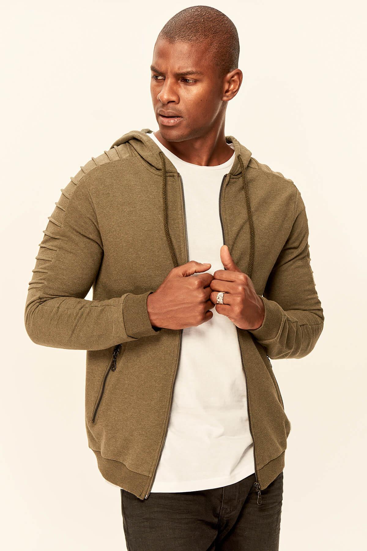 Trendyol Khaki Men's Sweatshirts-Hooded Zippered Arm Ribbed