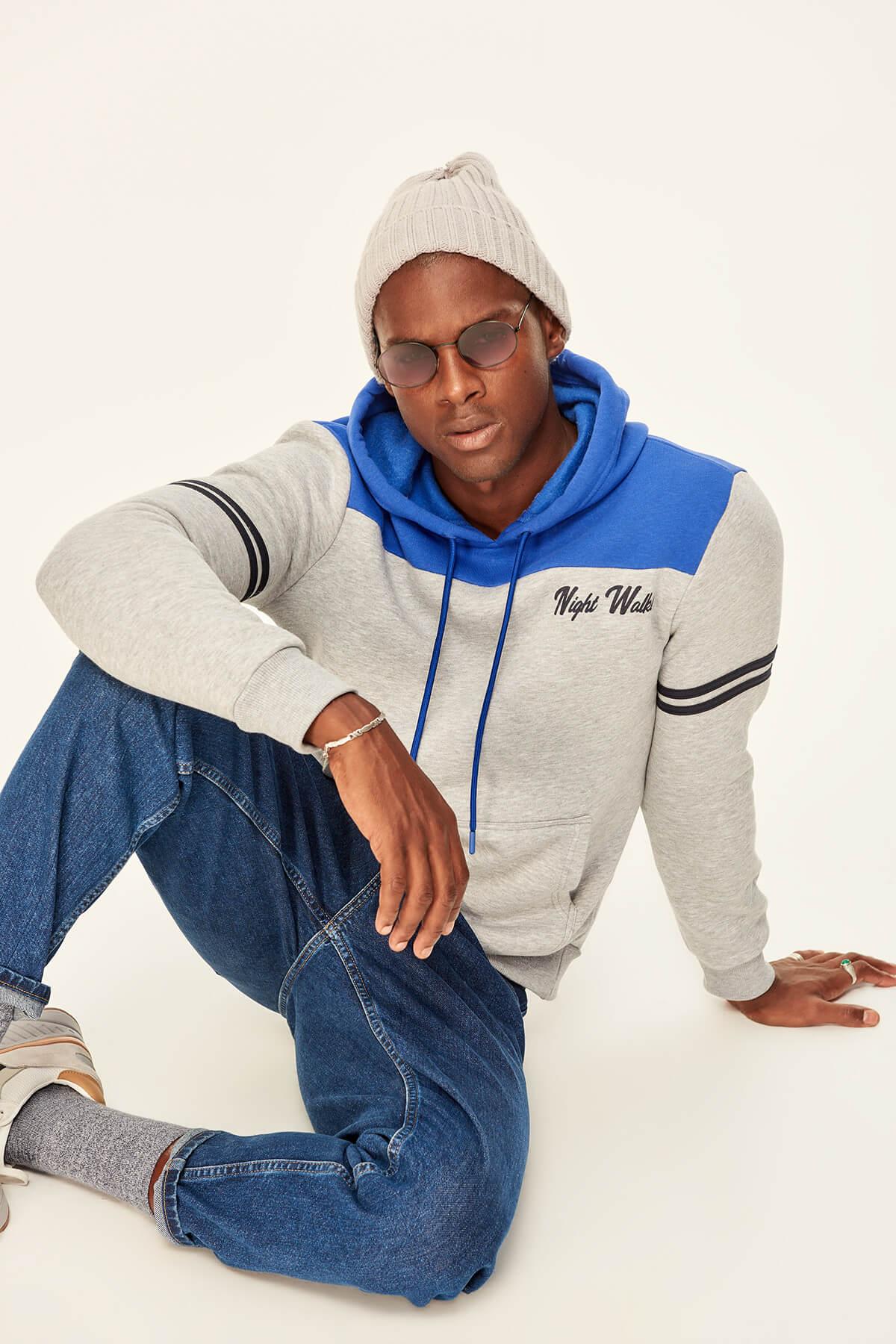 Trendyol Saks Men's Sweatshirts-Hooded Kangaroo Pocket Front Printed