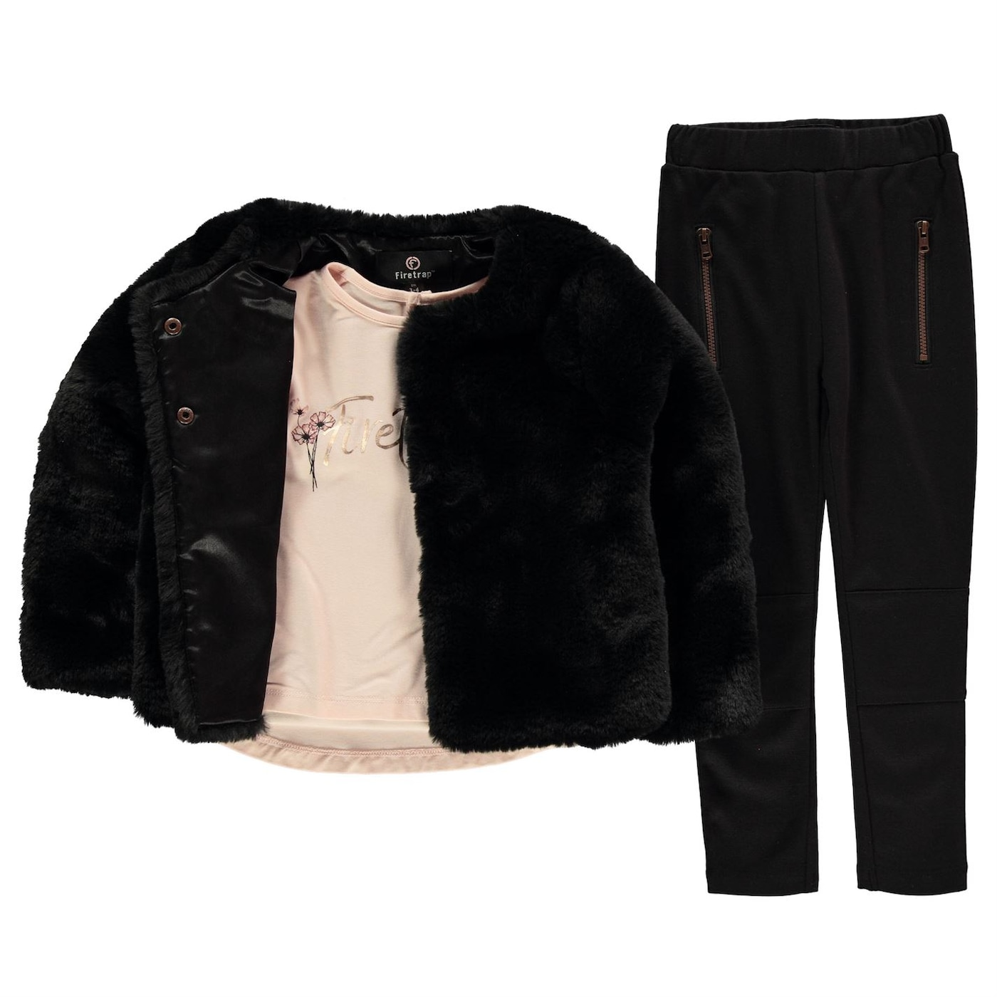 Firetrap 3 Piece Fur Jacket Set Infant Girls