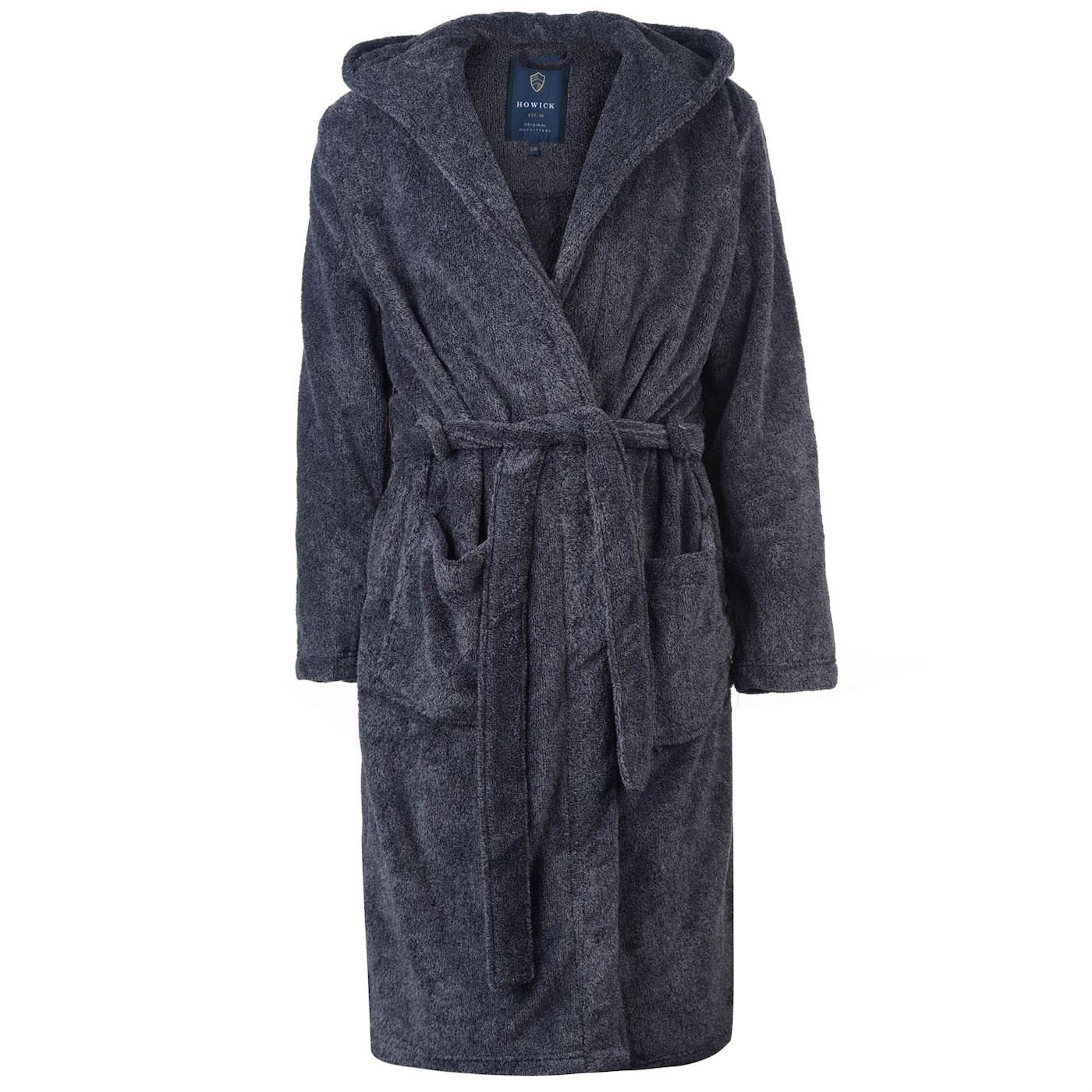 Howick Hooded Charcoal Marl Fleece Dressing Gown