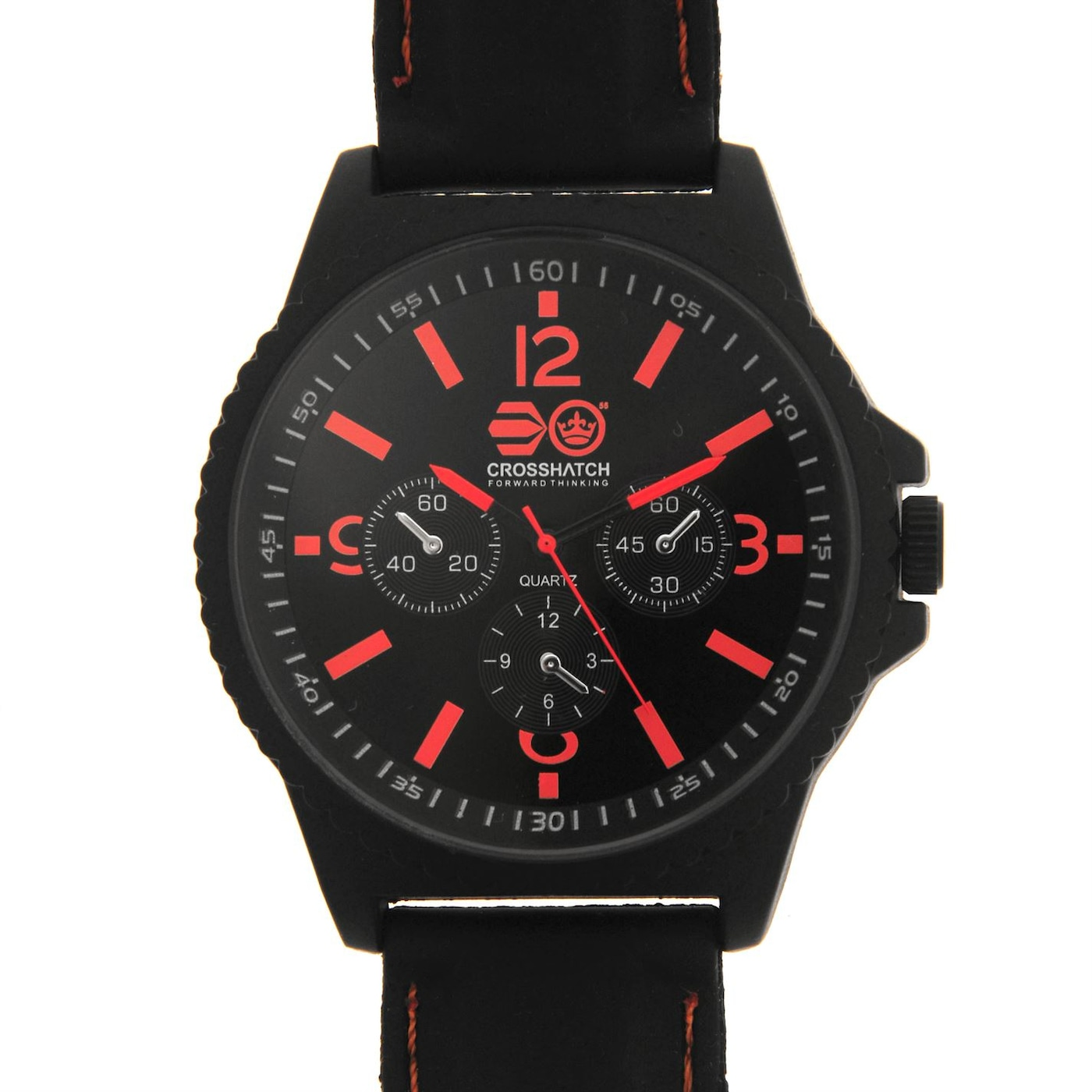 Crosshatch Quartz Stitched Rubber Strap Watch Mens